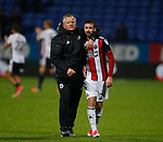 Chris Wilder manager of Sheffield Utd hugs Daniel Lafferty of Sheffield Utd during the Championship match at the Macron Stadium, Bolton. Picture date 12th September 2017. Picture credit should read: Simon Bellis/Sportimage