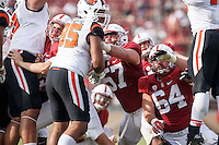 Stanford, CA - November 5, 2016:Johnny Caspers_David Bright  during  the Stanford vs Oregon State game at Stanford Stadium Saturday. <br /> <br /> Stanford won 26-15.