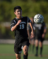 Oct 29, 2014; Orange, CA, USA; Occidental College Tigers forward Tod Kawada (19) against the Chapman College Panthers. Photo by Kirby Lee