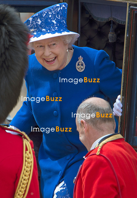 QUEEN ELISABETH II<br /> attends the Trooping of the Colour.<br /> The Trooping marks the official birthday of the Queen_15/6/2013