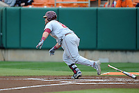 Florida State Seminoles left fielder DJ Stewart #8 runs to first during a game against the Clemson Tigers at Doug Kingsmore Stadium on March 22, 2014 in Clemson, South Carolina. The Seminoles defeated the Tigers 4-3. (Tony Farlow/Four Seam Images)