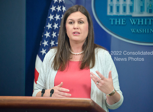 Principal Deputy White House Press Secretary Sarah Huckabee Sanders conducts the daily press briefing at the White House in Washington, DC on Friday, June 30, 2017. <br /> Credit: Ron Sachs / CNP