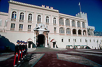 Prince's Palace entry with line of guards, Monte Carlo, Monaco