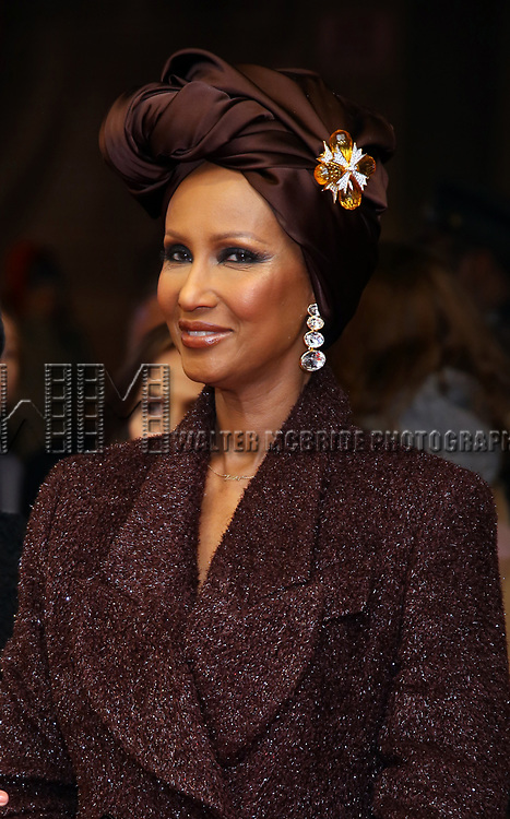 """Iman attends the Broadway Opening Night Performance of """"To Kill A Mockingbird"""" on December 13, 2018 at The Shubert Theatre in New York City."""