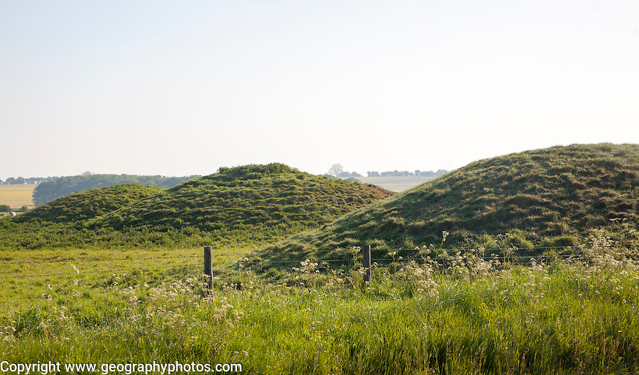 Tumuli megalithic burial mounds on the ancient Ridgeway, East Kennett, Wiltshire, England
