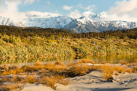 Southern Alps with Mt. Tasman and Aoraki, Mt. Cook from Three Mile beach near Okarito, Westland Tai Poutini National Park, West Coast, UNESCO Wolrd Heritage Area, New Zealand, NZ
