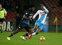 Atalanta's Franck Kessie and SSC Napoli's Amadou Diawara  during the SSC Napoli vs Atalanta, serie A  soccer match at  San Paolo Stadium in Naples , Italy 25 February 2017 Photo: Ciro De Luca ciro de luca<br />   +39 02 43998577 sales@silverhubmedia.it
