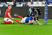 February 1st 2019, St Denis, Paris, France: 6 Nations rugby tournament, France versus Wales;  Yoann Huget (fr) breaks along the wing to score his try as George North gives chase