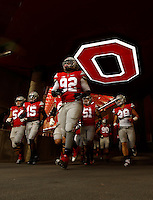 The Ohio State Buckeyes head to the field for warms ups before the college football game between the Ohio State Buckeyes and the Michigan State Spartans at Ohio Stadium in Columbus, Saturday afternoon, November 21, 2015.  (The Columbus Dispatch / Eamon Queeney)
