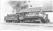 Engineer's-side view of D&amp;RGW #361 at Cimarron agent's house.<br /> D&amp;RGW  Cimarron, CO  Taken by Kindig, Richard H. - 6/29/1939