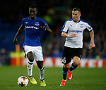 Idrissa Gueye of Everton and Esteban Sacetti of Apollon Limassol FC during the Europa League Group E match at Goodison Park Stadium, Liverpool. Picture date: September 28th 2017. Picture credit should read: Simon Bellis/Sportimage