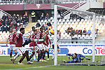 Players look on as Rodrigo Palacio of Bologna's effort rebounds off the goalpost during the Serie A match at Stadio Grande Torino, Turin. Picture date: 12th January 2020. Picture credit should read: Jonathan Moscrop/Sportimage