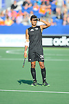 The Hague, Netherlands, June 01: Arun Panchia #24 of New Zealand watches the replay on the large video screen during the field hockey group match (Men - Group B) between the Black Sticks of New Zealand and Korea on June 1, 2014 during the World Cup 2014 at GreenFields Stadium in The Hague, Netherlands. Final score 2:1 (1:0) (Photo by Dirk Markgraf / www.265-images.com) *** Local caption ***