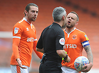 Blackpool's Jay Spearing (right) and Antony Evans remonstrate with referee Seb Stockbridge<br /> <br /> Photographer Kevin Barnes/CameraSport<br /> <br /> The EFL Sky Bet League One - Blackpool v Plymouth Argyle - Saturday 30th March 2019 - Bloomfield Road - Blackpool<br /> <br /> World Copyright © 2019 CameraSport. All rights reserved. 43 Linden Ave. Countesthorpe. Leicester. England. LE8 5PG - Tel: +44 (0) 116 277 4147 - admin@camerasport.com - www.camerasport.com