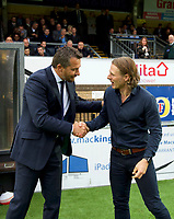 Manager Slavisa Jokanovic of Fulham (left) and Manager Gareth Ainsworth of Wycombe Wanderers during the Carabao Cup match between Wycombe Wanderers and Fulham at Adams Park, High Wycombe, England on 8 August 2017. Photo by Alan  Stanford / PRiME Media Images.
