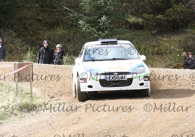 Paul Benn / Daniel O'Brien in a Ford Focus WRC at Junction 3 on John Lawrie Group Special Stage 5 Fettersso 2 of the Coltel Granite City Rally 2012 which was based at the Thainstone Agricultural Centre, Inverurie.