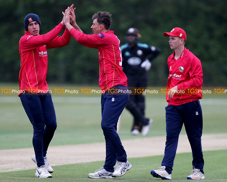 Matt Dixon celebrates rates taking a wicket with Daniel Lawrence during Essex CCC 2nd XI vs Surrey CCC 2nd XI, Second XI Trophy Cricket at Billericay Cricket Club on 3rd May 2017