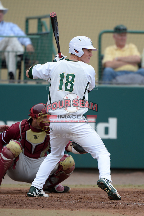 South Florida Bulls outfielder Luke Maglich (18) during a game against the Florida State Seminoles on March 5, 2014 at Red McEwen Field in Tampa, Florida.  Florida State defeated South Florida 4-1.  (Mike Janes/Four Seam Images)