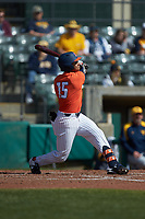 Taylor Jackson (15) of the Illinois Fighting Illini follows through on his swing against the West Virginia Mountaineers at TicketReturn.com Field at Pelicans Ballpark on February 23, 2020 in Myrtle Beach, South Carolina. The Fighting Illini defeated the Mountaineers 2-1.  (Brian Westerholt/Four Seam Images)