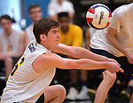O'Fallon's Easton Gavin settles the ball against Minooka in the Class 4A Belleville East boys volleyball sectional final at Belleville East High School on Tuesday May 28, 2019.<br /> Tim Vizer/Special to STLhighschoolsports.com