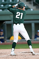 Left fielder Jack Frank (21) of the Michigan State Spartans bats in a game against the Merrimack Warriors on Saturday, February 22, 2020, at Fluor Field at the West End in Greenville, South Carolina. Merrimack won, 7-5. (Tom Priddy/Four Seam Images)