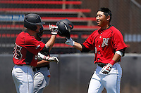 Chester Pak #8 of the Cal State Northridge Matadors is met by teammate Michael Livingston #35 after hitting a home run against the UC Santa Barbara Gauchos at Matador Field on May 12, 2013 in Northridge, California. Cal State Northridge defeated UC Santa Barbara 7-1. (Larry Goren/Four Seam Images)