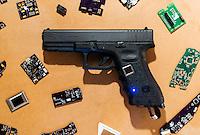 A smart gun designed by Kai Kloepfer, founder of Biofire Technologies, in Boulder, Colorado, Tuesday, August 23, 2016. Kloepfer has invented the first ever smart handgun which requires a fingerprint match to fire the gun. <br /> <br /> Photo by Matt Nager