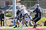 Los Angeles, CA 03/12/16 - Tanner Cortez (Utah State #10), Dean Sutton (Utah State #14) and Drew Marinelli (Loyola Marymount #22) in action during the Utah State vs Loyola Marymount MCLA Men's Division I game at Leavey Field at LMU.  Utah State defeated LMU 17-4.