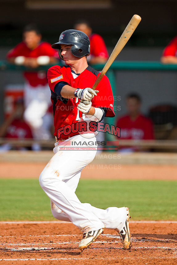 Daniel Robertson #18 of Babe Ruth follows through on his swing against AABC at the 2011 Tournament of Stars at the USA Baseball National Training Center on June 26, 2011 in Cary, North Carolina.  Babe Ruth defeated AABC 3-2 in the Gold Medal game. (Brian Westerholt/Four Seam Images)