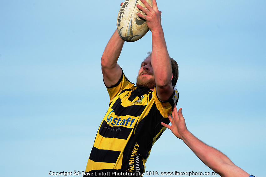 Action from the 2019 Manawatu premier club rugby Hankins Shield final match between Varsity and Feilding Yellows at CET Arena in Palmerston North, New Zealand on Saturday, 13 July 2019. Photo: Dave Lintott / lintottphoto.co.nz