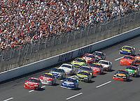 Apr 29, 2007; Talladega, AL, USA; Nascar Nextel Cup Series driver Dale Earnhardt Jr (8) leads Kyle Busch (2) and Elliott Sadler (19) during the Aarons 499 at Talladega Superspeedway. Mandatory Credit: Mark J. Rebilas