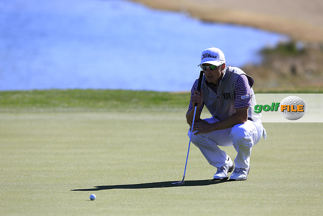 Blayne Barber (USA) on the 18th green during Saturday's Round 3 of the 2017 CareerBuilder Challenge held at PGA West, La Quinta, Palm Springs, California, USA.<br /> 21st January 2017.<br /> Picture: Eoin Clarke | Golffile<br /> <br /> <br /> All photos usage must carry mandatory copyright credit (&copy; Golffile | Eoin Clarke)