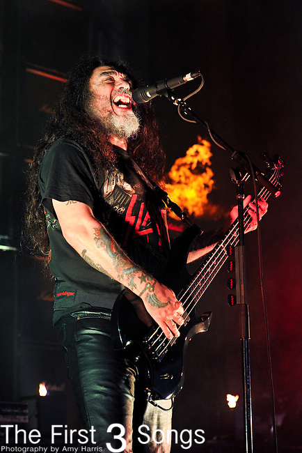 Tom Araya of Slayer performs at the 2012 Rockstar Energy Drink Mayhem Festival at Blossom Music Center in Cleveland, Ohio.