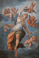 Ceiling fresco of an allegory of France surrounded by putti, by Ambroise Dubois, 1542-1615, in the Galerie des Assiettes or Plate Gallery, built c. 1840 under Louis-Philippe at the Chateau de Fontainebleau, France. The early 17th century frescoes were transported here from the Diana Gallery. The Palace of Fontainebleau is one of the largest French royal palaces and was begun in the early 16th century for Francois I. It was listed as a UNESCO World Heritage Site in 1981. Picture by Manuel Cohen
