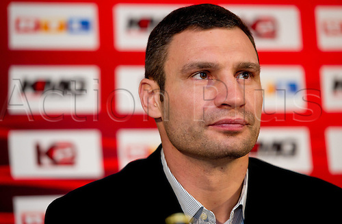 WBC Heavyweight World Champion Vitali Klitschko from the Ukraine attends a press conference at the Olympic Hall in Munich,Germany, 15 December 2012. Klitschko intends to defend his title against British boxer Dereck Chisora on 18 February 2012 in Munich.