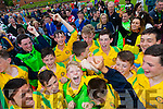 Kerry players celebrate their Kennedy Cup victory over Dublin at UL, Limerick on Friday.