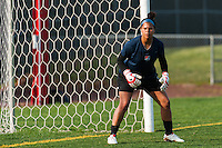 Sky Blue FC goalkeeper Brittany Cameron (1) warms up prior to playing the Western New York Flash. Sky Blue FC defeated the Western New York Flash 1-0 during a National Women's Soccer League (NWSL) match at Yurcak Field in Piscataway, NJ, on April 14, 2013.