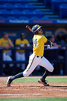 Michigan Wolverines first baseman Hector Gutierrez (24) at bat during a game against Army West Point on February 17, 2018 at Tradition Field in St. Lucie, Florida.  Army defeated Michigan 4-3.  (Mike Janes/Four Seam Images)
