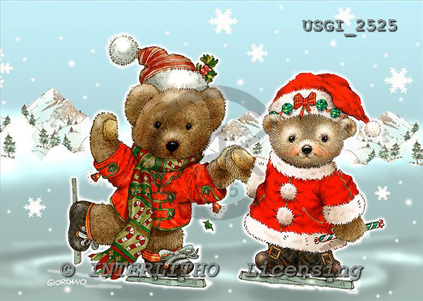 GIORDANO, CHRISTMAS ANIMALS, WEIHNACHTEN TIERE, NAVIDAD ANIMALES, Teddies, paintings+++++,USGI2525,#XA#