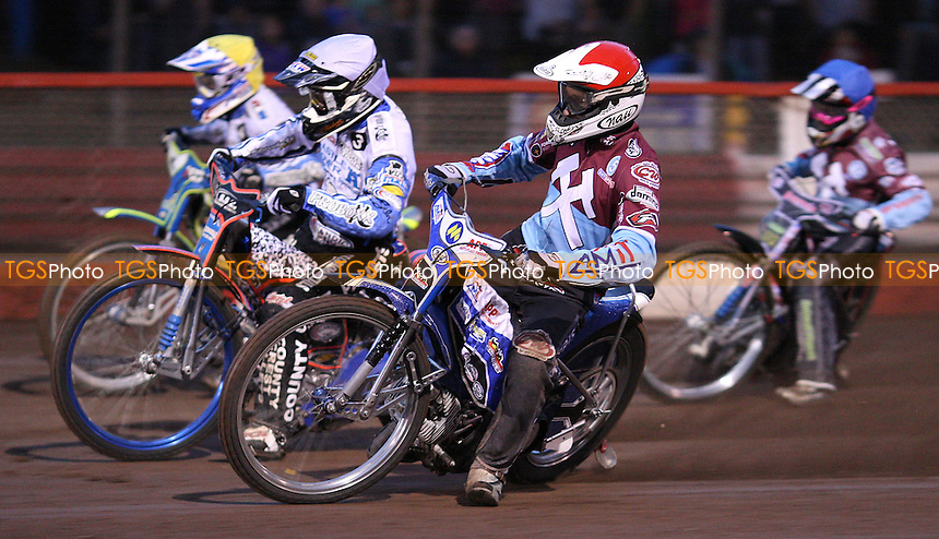 Heat 7: Piotr Swiderski (red), Davey Watt (white), Jason Doyle (yellow) and Robert Mear (blue) - Lakeside Hammers vs Poole Pirates, Elite League Speedway at the Arena Essex Raceway, Purfleet - 22/07/11 - MANDATORY CREDIT: Rob Newell/TGSPHOTO - Self billing applies where appropriate - 0845 094 6026 - contact@tgsphoto.co.uk - NO UNPAID USE.
