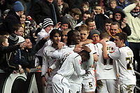 Pictured: (L-R) Jordi Gomez, Darren Pratley, Jason Scotland, Nathan Dyer, Alan Tate, Mark Gower and Joe Allen of Swansea City<br />