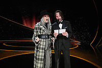 Diane Keaton and Keanu Reeves present the Oscar® for Original Screenplay during the live ABC Telecast of The 92nd Oscars® at the Dolby® Theatre in Hollywood, CA on Sunday, February 9, 2020.<br /> *Editorial Use Only*<br /> CAP/AMPAS<br /> Supplied by Capital Pictures