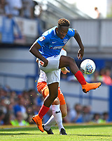 Jamal Lowe of Portsmouth controls the ball during Portsmouth vs Luton Town, Sky Bet EFL League 1 Football at Fratton Park on 4th August 2018
