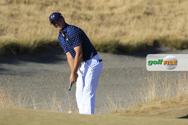 Jordan Speith (USA) takes his putt at the 15th green during Sunday's Final Round of the 2015 U.S. Open 115th National Championship held at Chambers Bay, Seattle, Washington, USA. 6/22/2015.<br /> Picture: Golffile | Eoin Clarke<br /> <br /> <br /> <br /> <br /> All photo usage must carry mandatory copyright credit (&copy; Golffile | Eoin Clarke)