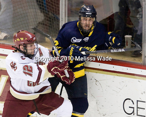 Ben Smith (BC - 12), Fraser Allan (Merrimack - 2) - The Boston College Eagles defeated the Merrimack College Warriors 7-0 on Tuesday, February 23, 2010 at Conte Forum in Chestnut Hill, Massachusetts.