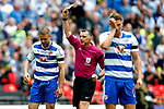 Joey van den Berg of Reading receives a yellow card  during the SkyBet Championship Play Off Final match at the Wembley Stadium, England. Picture date: May 29th, 2017.Picture credit should read: Matt McNulty/Sportimage