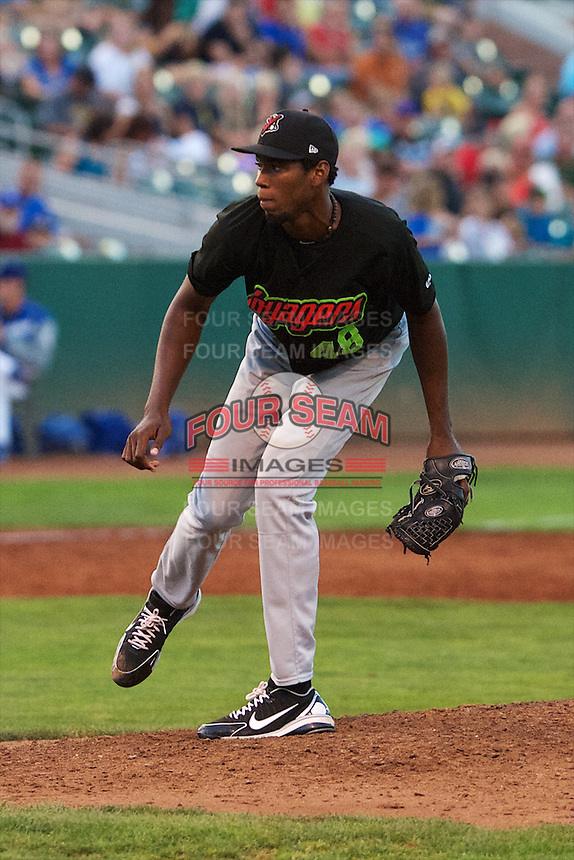Great Falls Voyagers starting pitcher Jose Brito (48) delivers a pitch to the plate against the Ogden Raptors at Lindquist Field on August 16, 2013 in Ogden Utah.  (Stephen Smith/Four Seam Images)