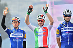Italian Champion DElia Viviani (ITA) and Deceuninck-Quick Step at sign on before Stage 4 of the 2019 Giro d'Italia, running 235km from Orbetello to Frascati, Italy. 14th May 2019<br /> Picture: Massimo Paolone/LaPresse | Cyclefile<br /> <br /> All photos usage must carry mandatory copyright credit (© Cyclefile | Massimo Paolone/LaPresse)
