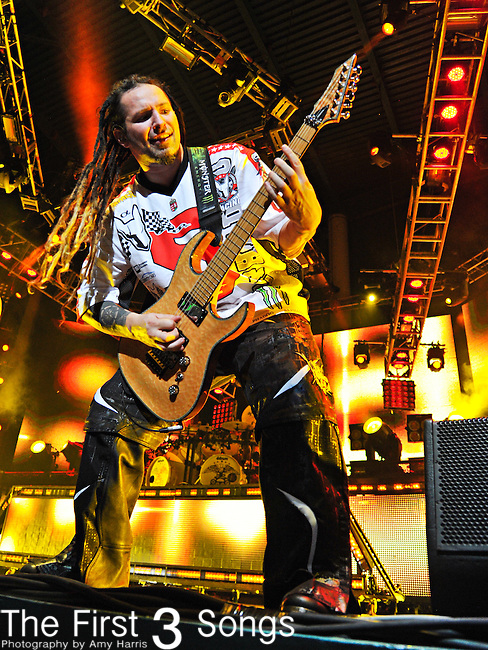 Zoltan Bathory of Five Finger Death Punch performs during the Trespass America Festival at Jacobs Pavilion at Nautica in Cleveland, Ohio.