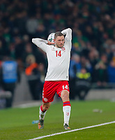 18th November 2019; Aviva Stadium, Dublin, Leinster, Ireland; European Championships 2020 Qualifier, Ireland versus Denmark; Henrik Dalsgaard of Denmark with the long throw-in - Editorial Use